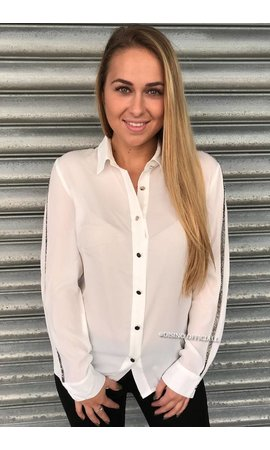 WHITE - 'ROBIN' - GLITTERLY STRIPED BLOUSE