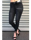QUEEN HEARTS JEANS - BLACK - SKINNY ASYMMETRIC HEM - 9331