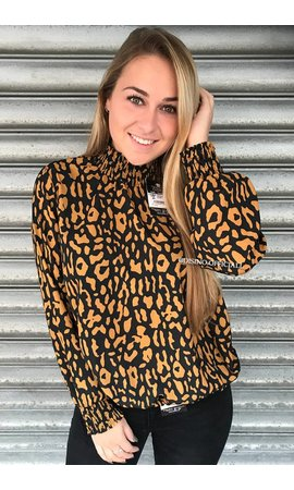 OCHER - 'ROXANNE' - HIGH NECK LEOPARD BLOUSE