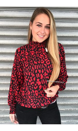 RED - 'ROXANNE' - HIGH NECK LEOPARD BLOUSE