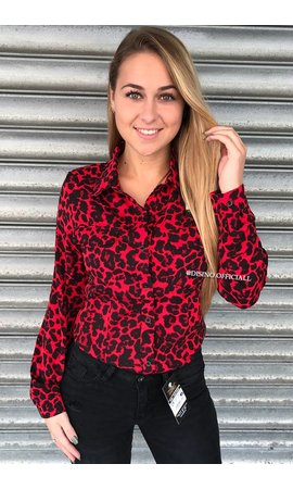 RED - 'SAMMY' - SLIM FIT LEOPARD PRINT BLOUSE