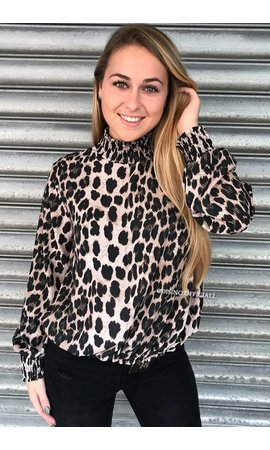 BEIGE - 'ROXANNE' - HIGH NECK LEOPARD BLOUSE
