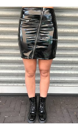 BLACK - 'JACKSON' - LATEX LOOK ZIP MINI SKIRT