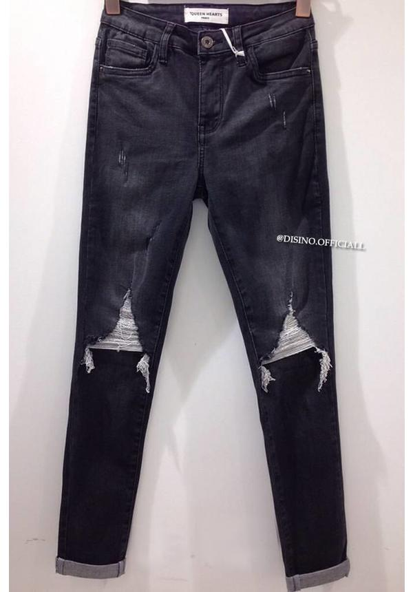 QUEEN HEARTS JEANS - DARK GREY - TRIANGLE RIPPED SKINNY - 9506