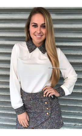 WHITE - 'PEGGY BLOUSE' - TWEED COLLAR BLOUSE