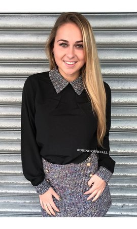 BLACK - 'PEGGY BLOUSE' - TWEED COLLAR BLOUSE