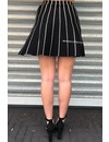 BLACK - 'JULIA' - STRIPED A-SKIRT