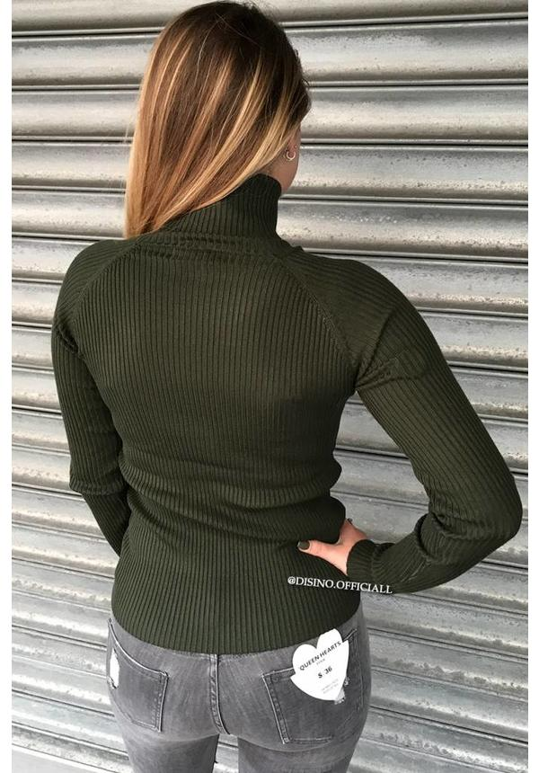 OLIVE GREEN - 'DEBBIE' - BASIC RIBBED COL