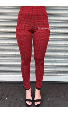 RED - 'TIARA' - CLASSY CHECKERED PANTS