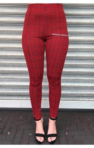 RED - 'TIARA' - CLASSY CHECKERED PANTS