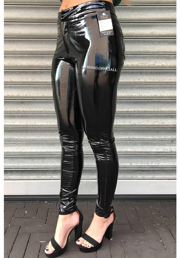 BLACK - 'KAILEE' - VINYL LATEX LOOK POCKET PANTS