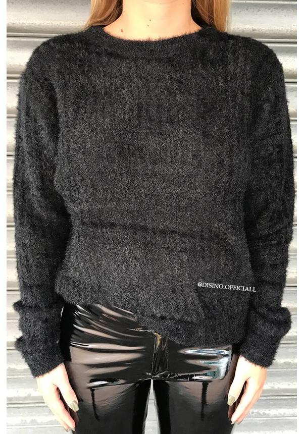 BLACK - 'FIFI' - FLUFFY OVERSIZED SWEATER