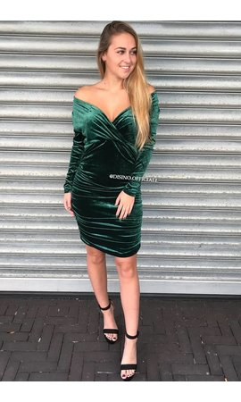 GREEN - 'MACY' - VELVET 2 WAYS MIDI DRESS