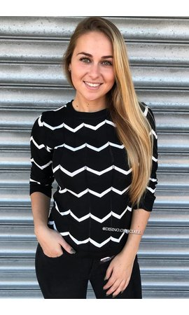 BLACK - 'ESTELLE' - PREMIUM INSPIRED STRIPED TOP
