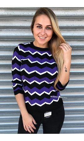PURPLE - 'ESTELLE' - PREMIUM INSPIRED STRIPED TOP