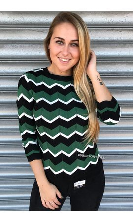 GREEN - 'ESTELLE' - PREMIUM INSPIRED STRIPED TOP