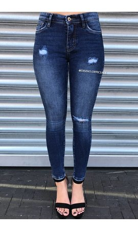QUEEN HEARTS JEANS - DARK BLUE - SKINNY DESTROYED JEANS - 9543
