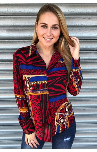 RED - 'TIGER VERSACE' PRINT BLOUSE