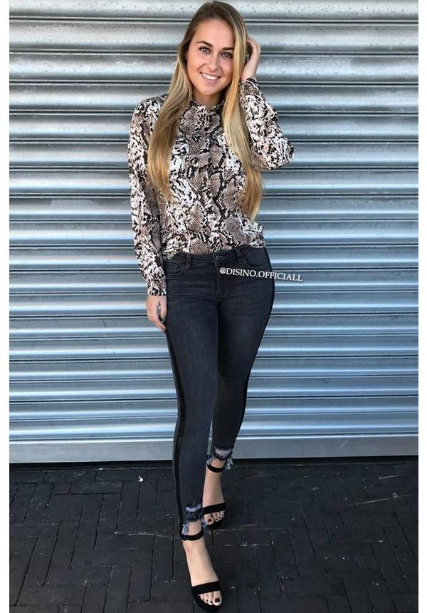 BEIGE - 'SALLY' - SLIM FIT SNAKE PRINT BLOUSE