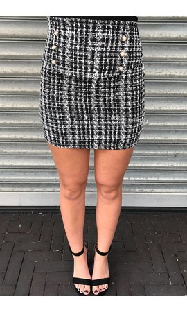 'PAULA' - GLITTERLY CHECKERED TWEED SKIRT