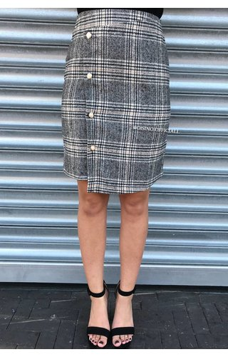 GREY - 'CHANEL' - OVERLAY CHECKERED MIDI SKIRT