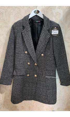 GREY - 'DORA' - GOLD BUTTON PLAID OVERCOAT