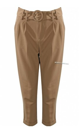 CAMEL - 'VERO' - RING BELTED PANTS