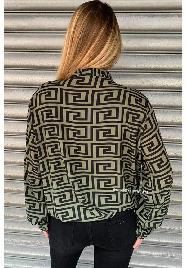 OLIVE GREEN - 'FENDERA' - INSPIRED KNOT BLOUSE