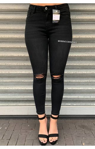 QUEEN HEARTS JEANS - BLACK - SKINNY RIPPED KNEE CROP FRAY HEM - 9377