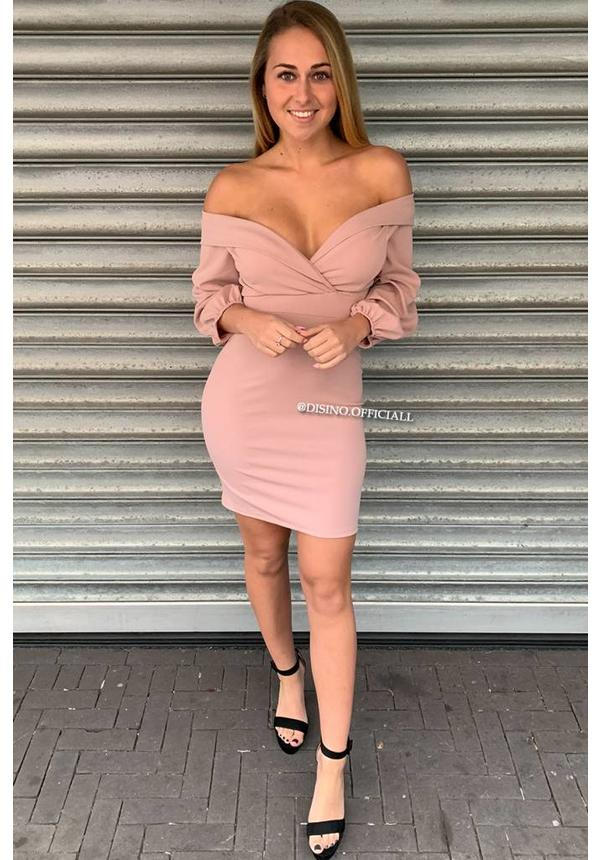DUSTY PINK - 'SAVANAH' - OFF SHOULDER MINI DRESS