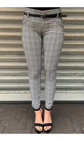 GREY - 'SIERRA' - CHECKERED SUPER STRETCH PANTS
