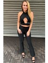 BLACK - 'ALEXA' - SPARKLY FLARE TWO PIECE