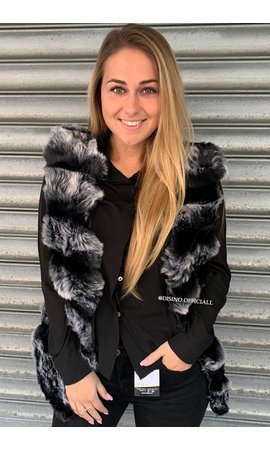 GRADIENT BLACK - 'XENIA' - SOFT FAUX FUR GILET