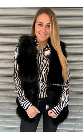 BLACK - 'XENIA' - SOFT FAUX FUR GILET