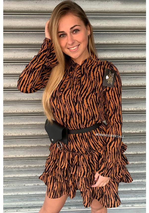CAMEL - 'TIAMO' - TIGER RUFFLE DRESS