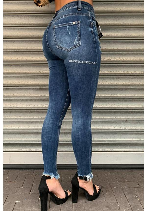 QUEEN HEARTS JEANS - MEDIUM BLUE - SKINNY CROP FRAY HEM - 9343