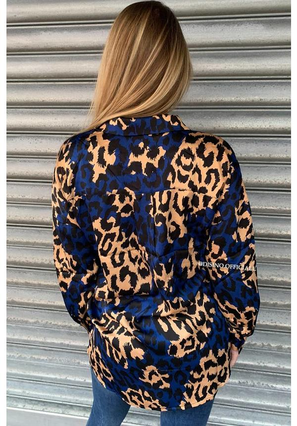 BLUE - 'LESLEY' - OVERSIZED SATIN LOOK LEOPARD BLOUSE