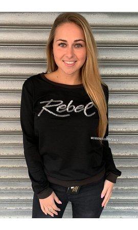 BLACK/SILVER - 'REBEL' SWEATER