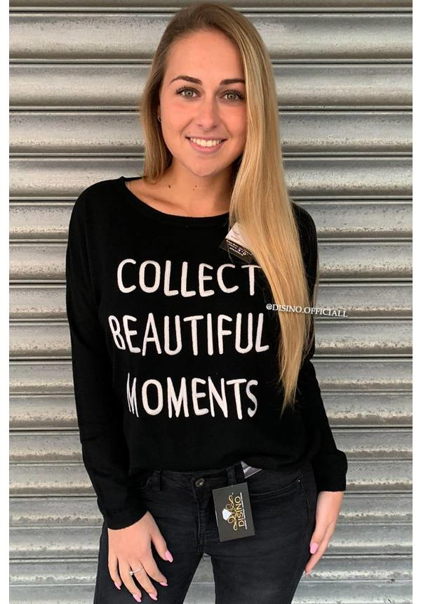 BLACK - 'MOMENTS' - SOFT FABRIC OVERSIZED JUMPER