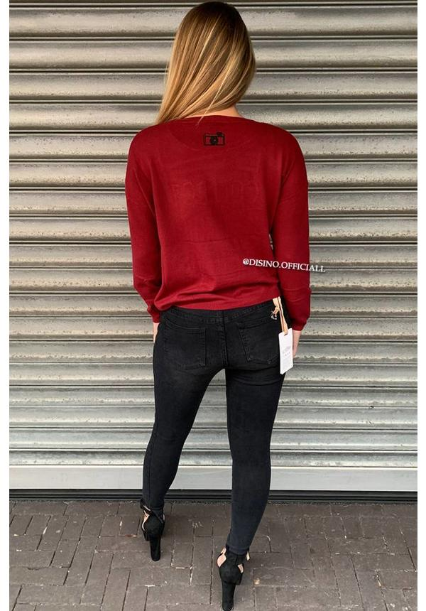 BURGUNDY - 'MOMENTS' - SOFT FABRIC OVERSIZED JUMPER