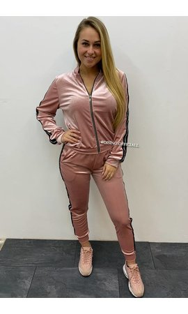 PINK - 'MARY' - VELVET TRACK SUIT