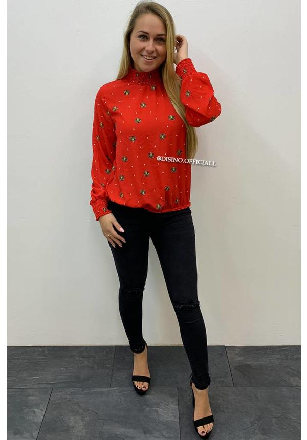 RED - 'KENZO' - HIGH NECK INSPIRED TIGER BLOUSE