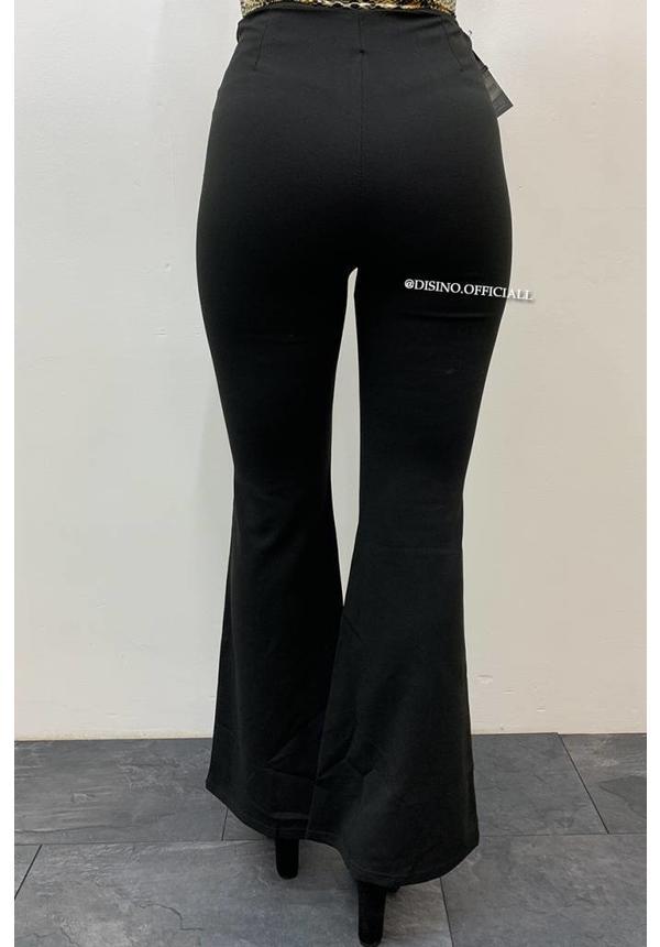 BLACK - 'YARA' - HIGH WAIST SPLITTED FLARED PANTS