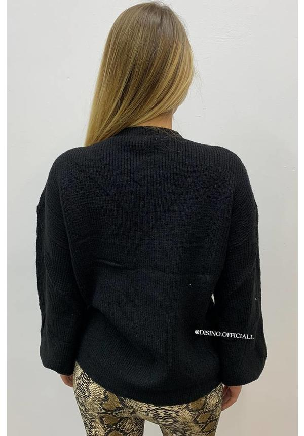 BLACK - KNITTED BUBBLE SLEEVE JUMPER