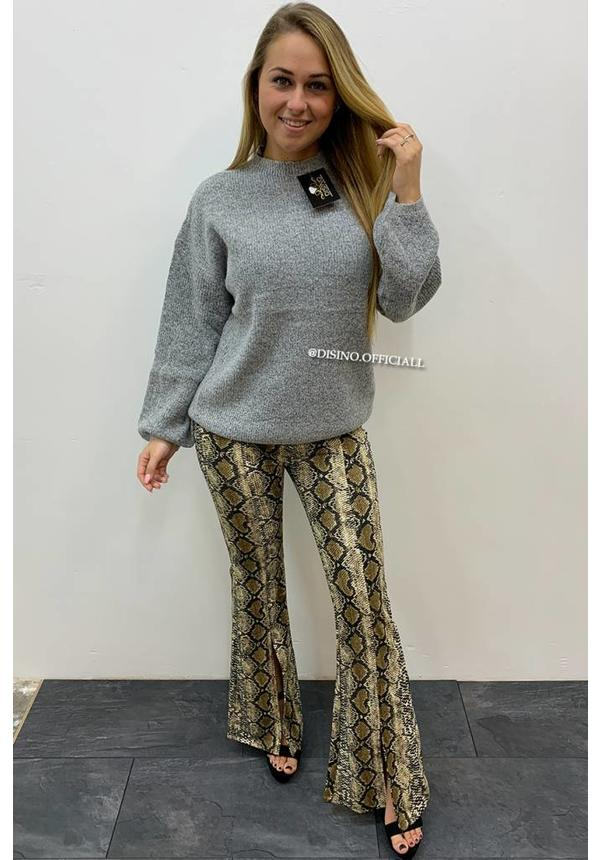 GREY - KNITTED BUBBLE SLEEVE JUMPER