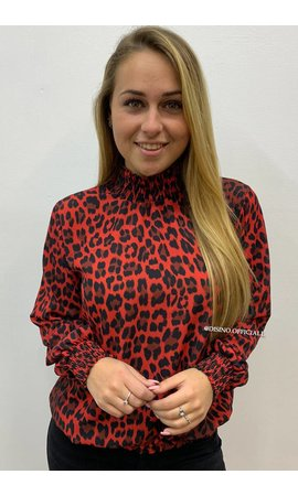 RED - 'RAQUEL' - HIGH NECK LEOPARD BLOUSE