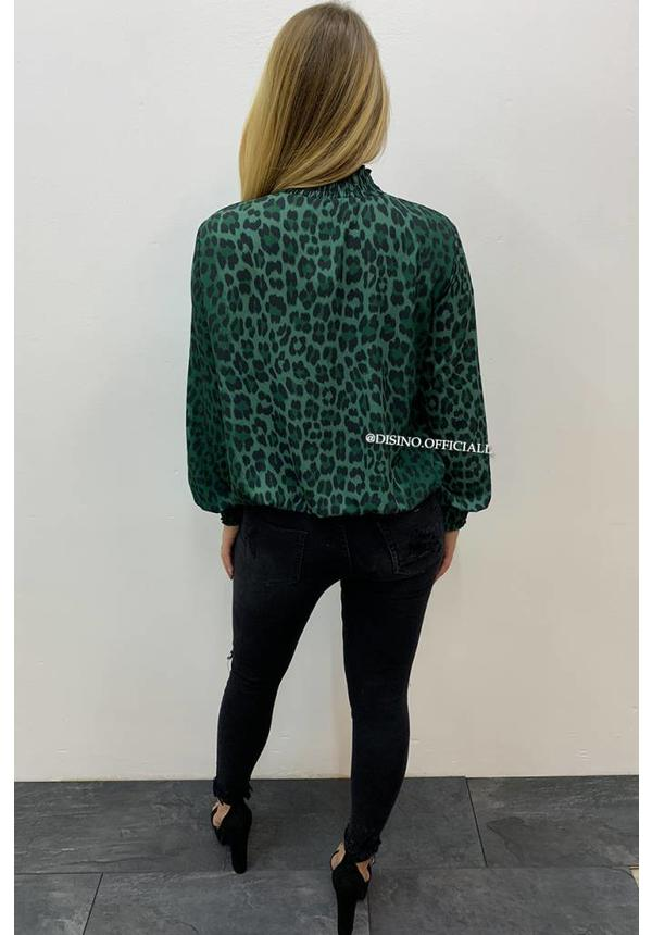 OLIVE GREEN - 'RAQUEL' - HIGH NECK LEOPARD BLOUSE