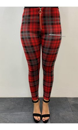 RED - 'CLAIRE' - CHECKED PANTS WITH FRONT ZIP