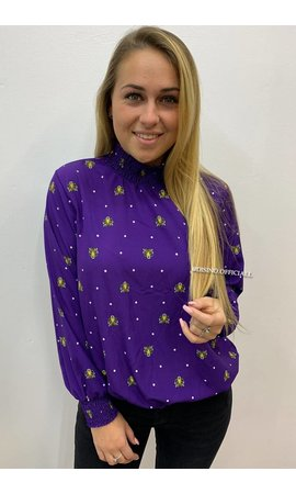 PURPLE - 'KENZO' - HIGH NECK INSPIRED TIGER BLOUSE