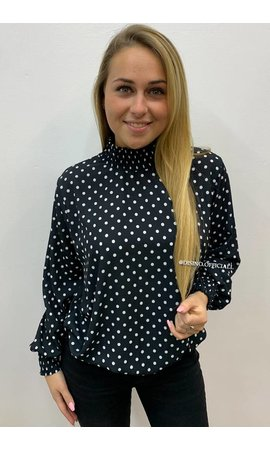 BLACK - 'DOTTIE' - HIGH NECK DOTTED BLOUSE